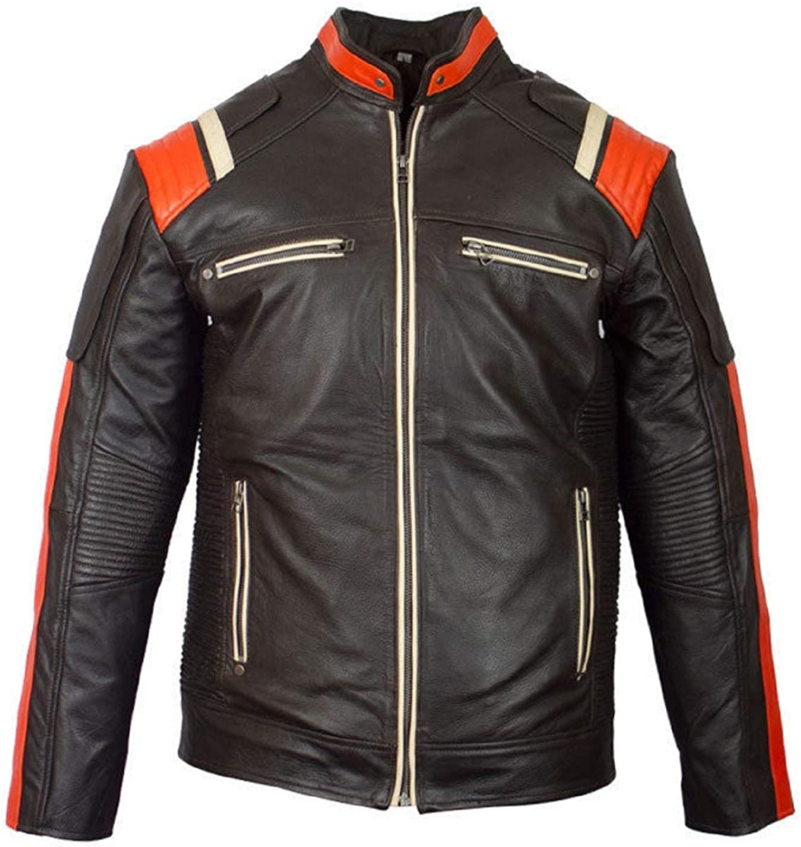 Mens Biker Motorcycle Vintage Black Classic Real Leather Jacket