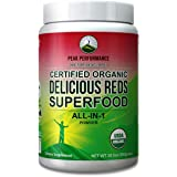 Organic Reds Superfood Powder. Best Tasting Organic Red Juice Super Food with 25+ All Natural Ingredients and Polyphenols. Vital for Max Energy + Detox. Raspberry, Elderberry, Beetroot (Reds Organic)