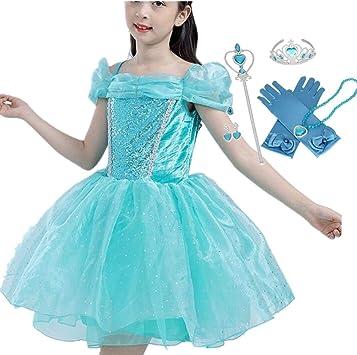 IWFREE Disfraz de Princesa Aurora La Bella Durmiente Niña Vestido ...