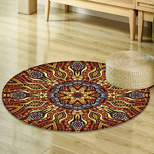 Area Silky Smooth Rugs India Ethnic Mosaic Like Kaleidoscope Design with Floral Swirls Image Brown Blue Yellow and Marigold Home Decor Area Rug R-35 -