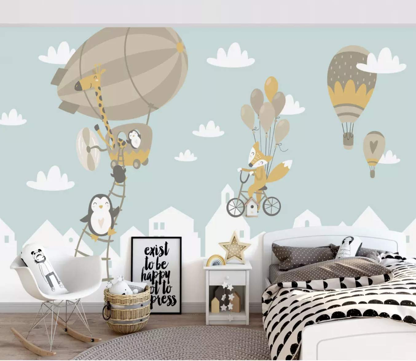 amazon com murwall kids wallpaper big air balloon wall mural kids