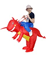 Qshine Inflatable Rider Costume Riding Me Fancy Dress Funny Dinosaur Dragon Funny Suit Mount Kids Adult