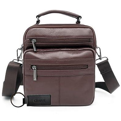 e33641498d Charmoni® - Sac pochette sacoche à bandoulière poignet et sa porte clé en  cuir vachette véritable (chocolat): Amazon.fr: Chaussures et Sacs