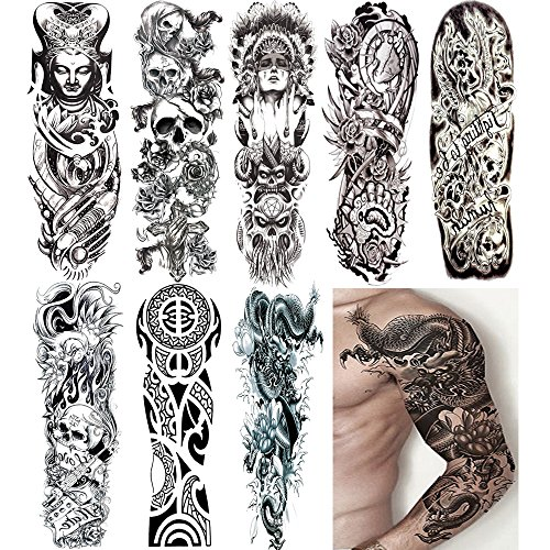 Amyzor 18.9x6.7 Large Temporary Tattoo Stickers 8 Sheets for Teens Guys Men Women, Sexy Fake Tattoo Biker Tattoo Sleeves Waterproof Body Stickers For Full Arms Shoulders Chest & Back, Black 2 ()
