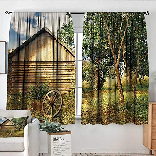 PriceTextile Rural,Backout Curtain Log Cabin in Forest Wheel 52