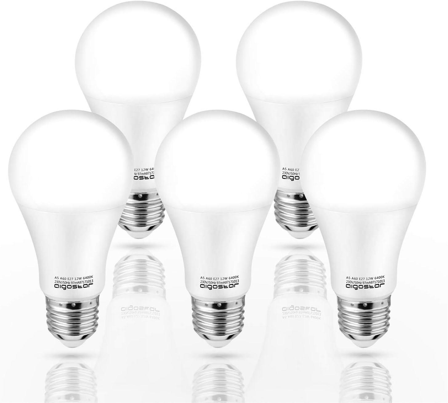 Aigostar - Bombilla LED E27 12W, Luz Blanca Fría 6400K,1020 lúmenes, Ángulo 280° - 5 unidades