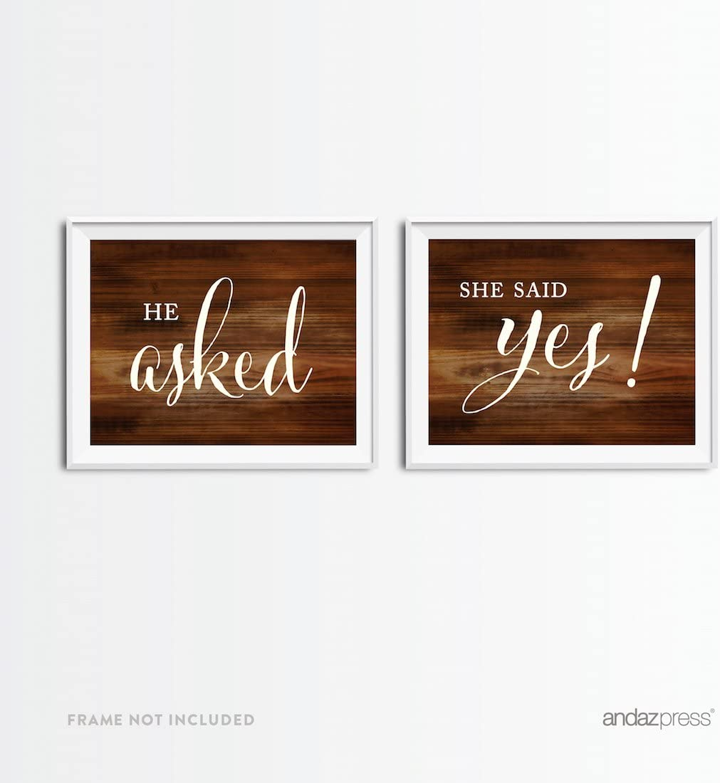 Andaz Press Wedding Party Signs, Rustic Wood Print, 8.5x11-inch, He Asked, She Said Yes! Engagement Save the Date Photoshoot Signs, 2-Pack
