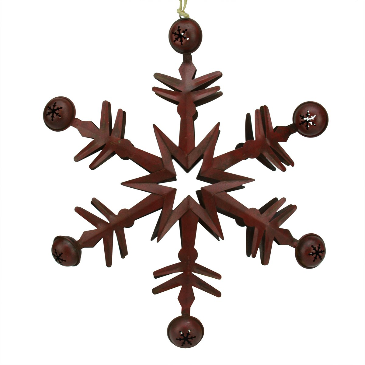 Rustic Red Metal Christmas Star Jingle Bells Ornament - ChristmasTablescapeDecor.com