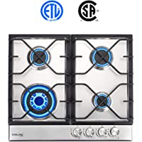 Gas Cooktop, Gasland chef GH60SF 24'' Built-in 4 Burner Gas Cooktops, Stainless Steel LPG Natural Gas Hob, 24 Inch Gas Stove Top with 4 Burners, ETL Safety Certified, Thermocouple Protection