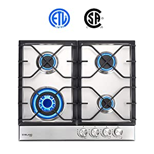 Gas Cooktop, Gasland chef GH60SF 24'' Built-in Gas Stove Top, Stainless Steel LPG Natural Gas Cooktop, Gas Stove Top With 4 Sealed Burners, ETL Safety Certified, Thermocouple Protection Easy To Clean