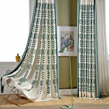 KoTing Home Fashion Cotton Linen Modern Abstract Blue Flowers and Leaves Embroidery Thermal Insulated Blackout Lined Curtains Drapes Grommet Top,1 Panel,50 by 96-Inch