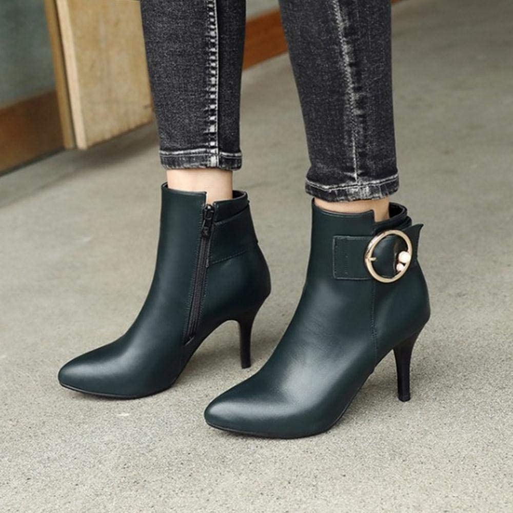 CularAcci Women High Heel Ankle Boots Zip