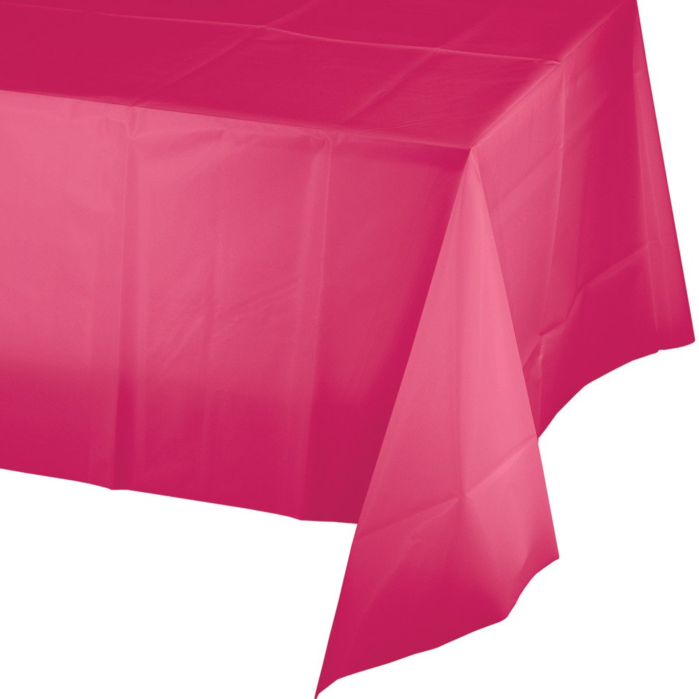 Creative Converting 12 Count Touch of Color Plastic Banquet Table Covers, Hot Magenta