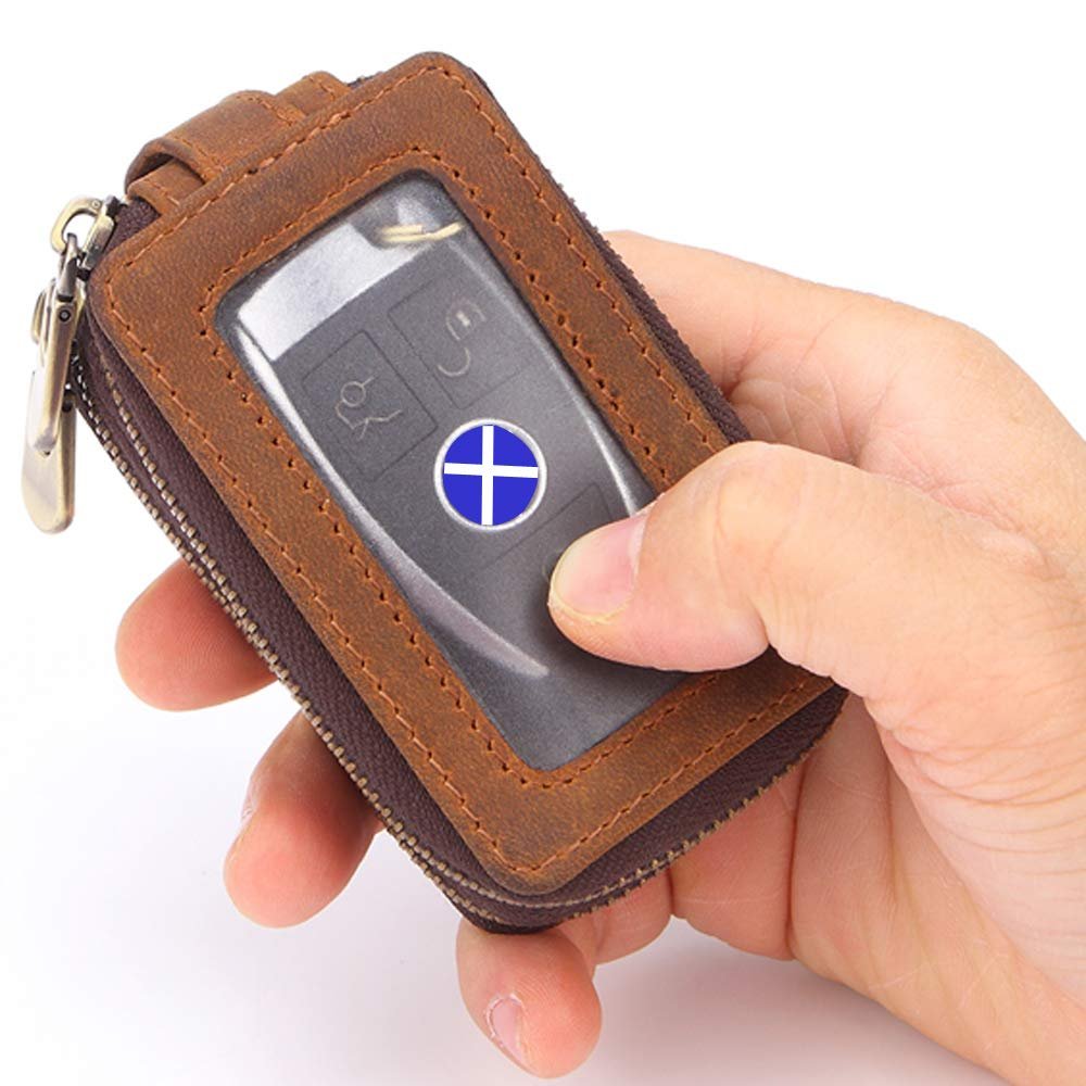 Semoss Retro Cowhide Genuine Leather Car Key Case Cover Double Layer with Window View Remote Control Key Holder Protector Pouch Bag for Most car Keys and Home Keys