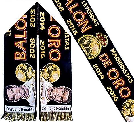 Bufanda Real Madrid - Conmemorativa Ronaldo Balón de Oro: Amazon ...