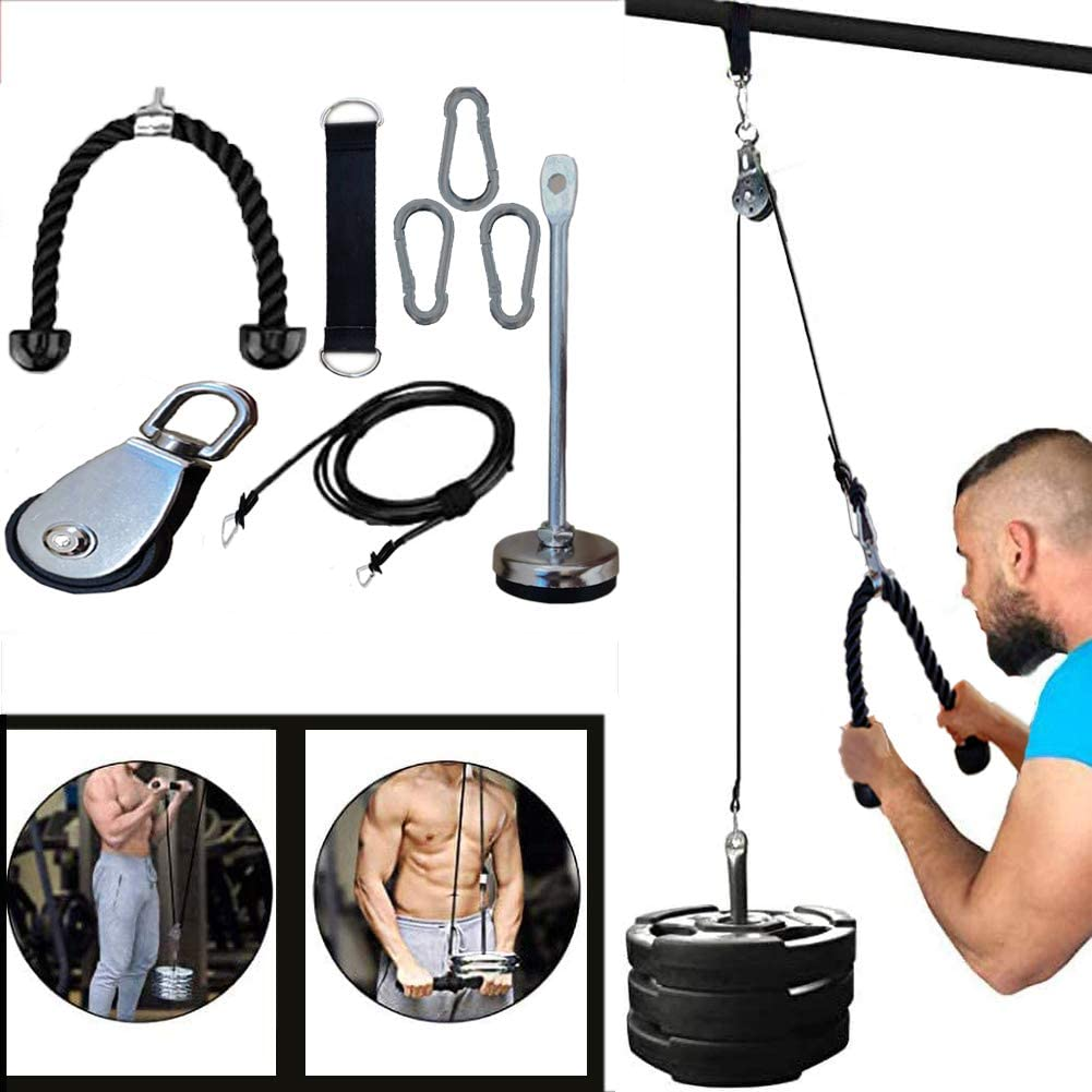Pulley Cable Machine Men Women Professional Muscle Strength Fitness Equipment Forearm Wrist Roller Training for LAT Pulldowns Triceps Extensions Workout Biceps Curl
