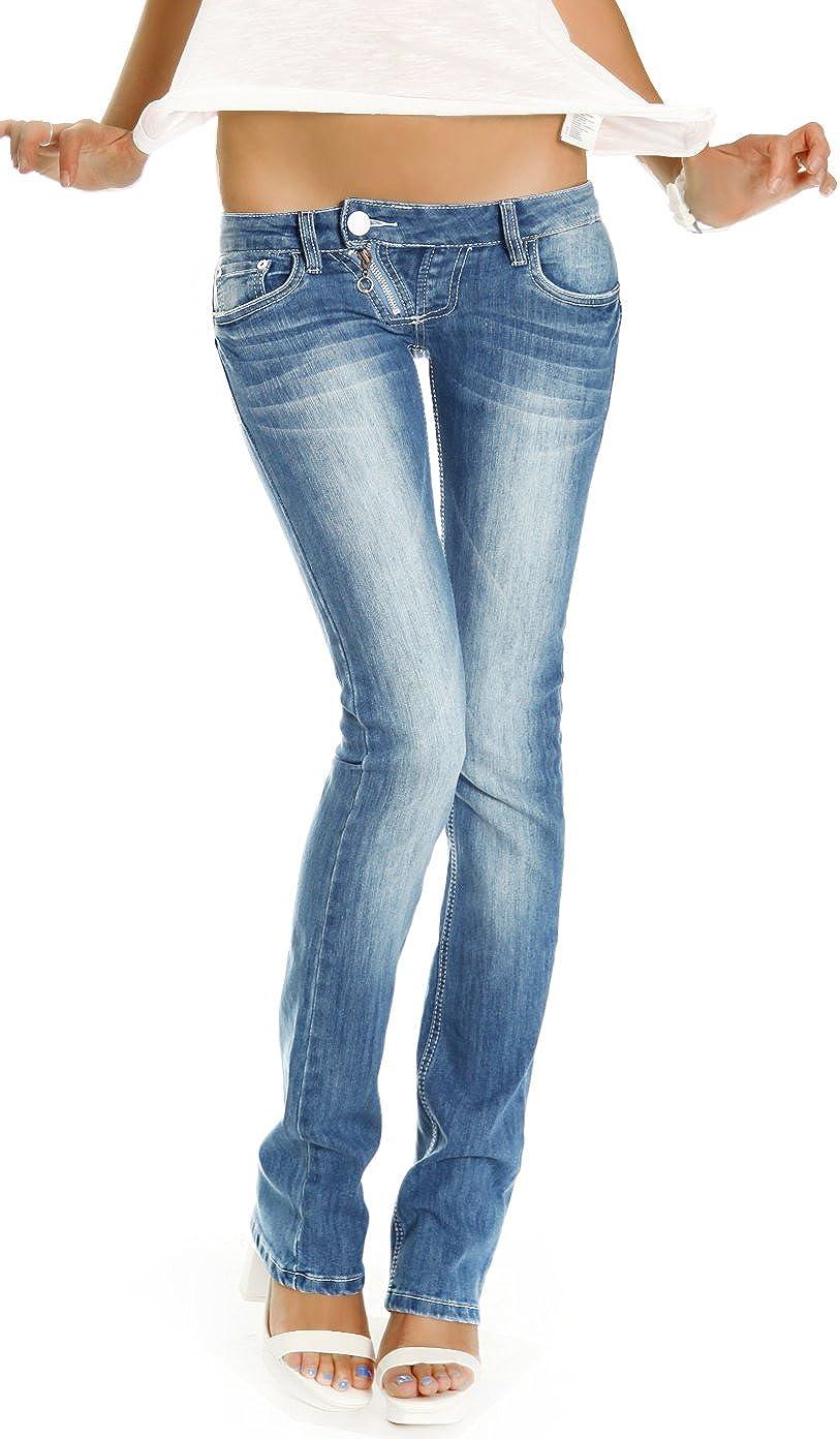 bestyledberlin Damen Jeans Hosen, Low Rise Hüftjeans, Slim Fit Damen Bootcut, Jeanshosen j99a