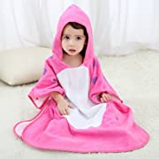 NEWEST Animal Hooded Baby Towel Cotton Bathrobe for Boys Girls 0-7 Year (Pink, 0-7 Year)