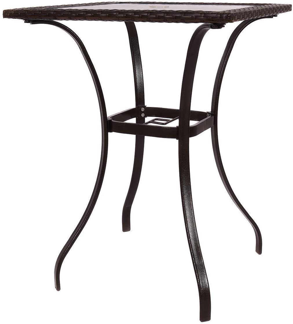 Mix Brown Patio Square PE Rattan Bar Table Glass Top 37 Height