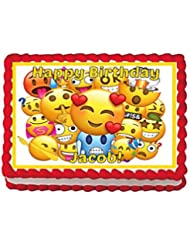 Emoji Personalized 8 x 10.5 Edible Cake Topper Image For Birthdays/Parties - 1/4 Sheet