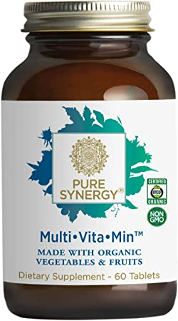 Pure Synergy Multi•Vita•Min | 60 Tablets | Made with Organic Ingredients | Non-GMO | Daily Multivitamin Made with Organic Vegetables and Fruits