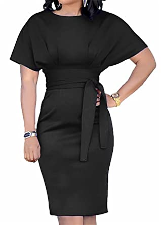 afdd473f07 SHINFY Women s Solid Color Short Sleeve Busniess Bodycon Pencil Dress with  Belt Black