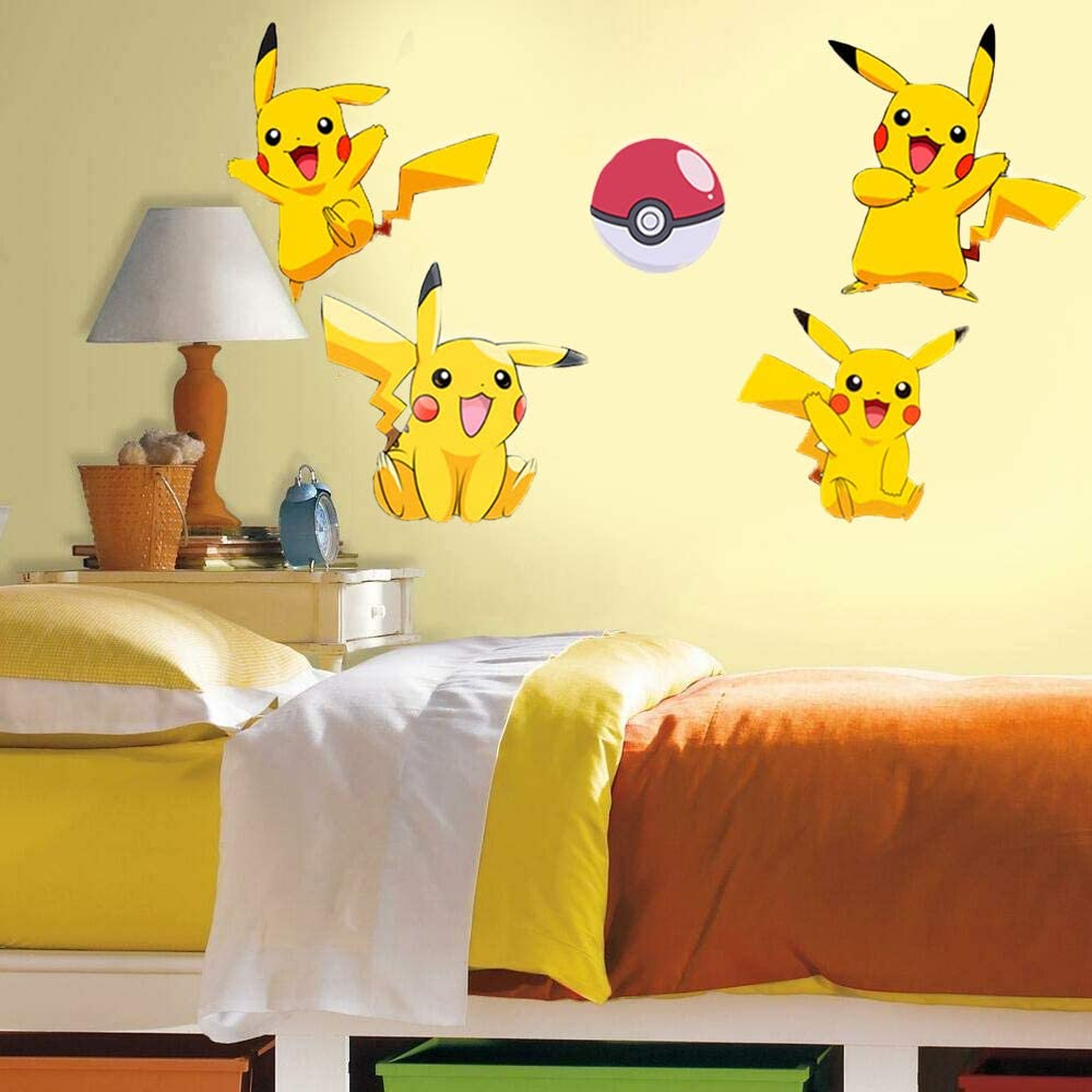 Pokemon Wall Stickers 20X32inch Room Decals Anime Wall Stickers for Living Room Bedroom (20X32inch) (Pikachu)