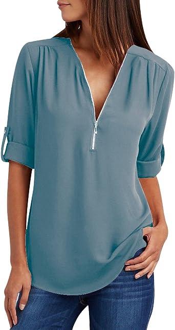Blusa Gasa Blusas Manga Larga para Dama Camisas de Mujer Blusones Camisetas Largas Juveniles Top Cuello En V Cremallera Tops Camisa Elegantes Anchas: Amazon.es: Ropa y accesorios
