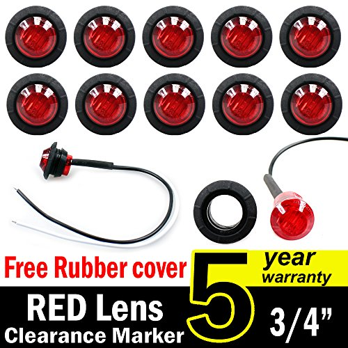 10 Pcs TMH 3/4 Inch Mount Red LED Clearance Markers Bullet Marker lights, side marker lights, led marker lights, led side marker lights, led trailer marker lights, rv marker lights