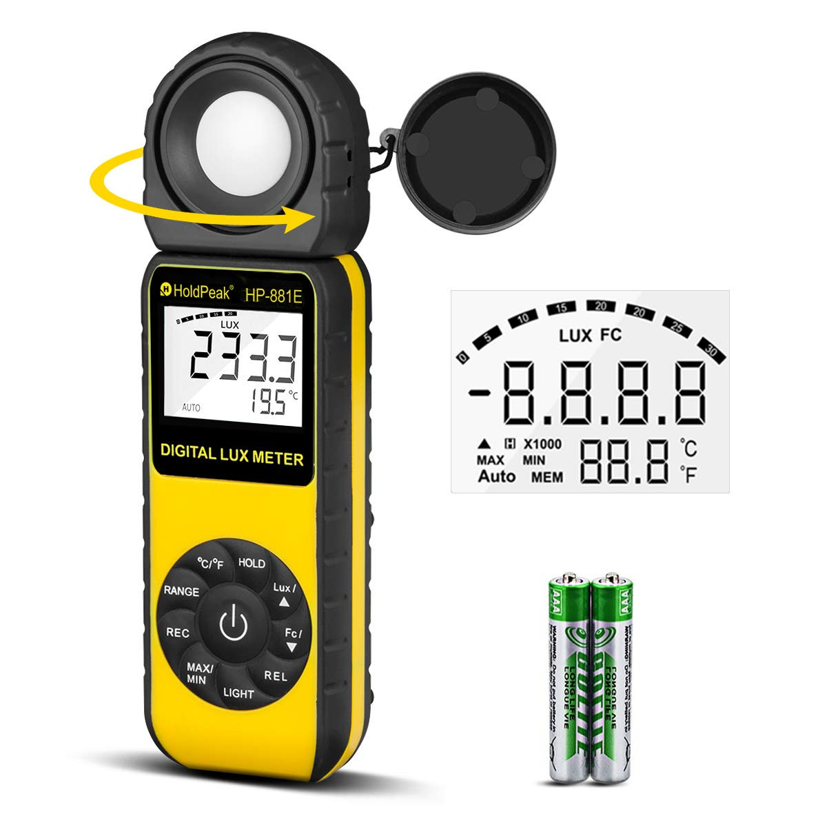 Light Meter-HOLDPEAK 881E Digital Illuminanc/Light Meter with 0.01~300,000 Lux (0.01~30,000 FC) Measuring Ranges and 270° Rotatable Detector for LED Lights and Plants Lumen Meter by H HOLDPEAK