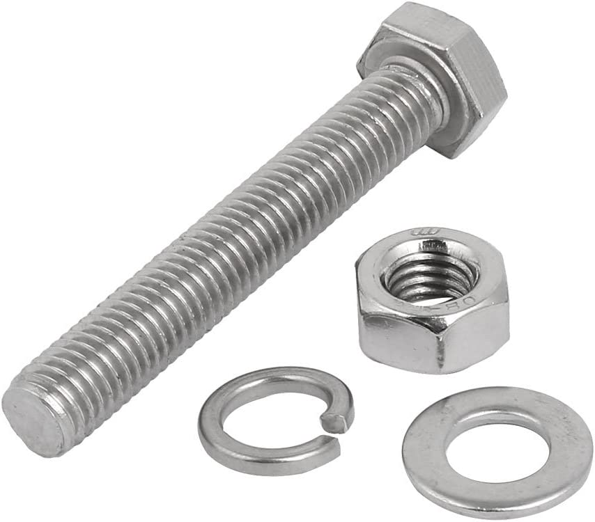 uxcell 5 Set M10x70mm 304 Stainless Steel Hex Bolts w Nuts and Washers Assortment Kit