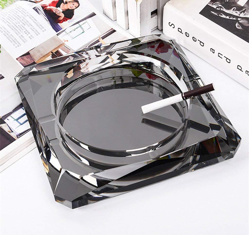 大型クリスタル灰皿、パートナーや喫煙が大好きな贈り物、バークラブオフィスホームデスクトップデコレーション(18cm)、シルバー (色 : ブラック, サイズ : 18*18*4 cm) 18*18*4 cm ブラック B07QZW3GVR