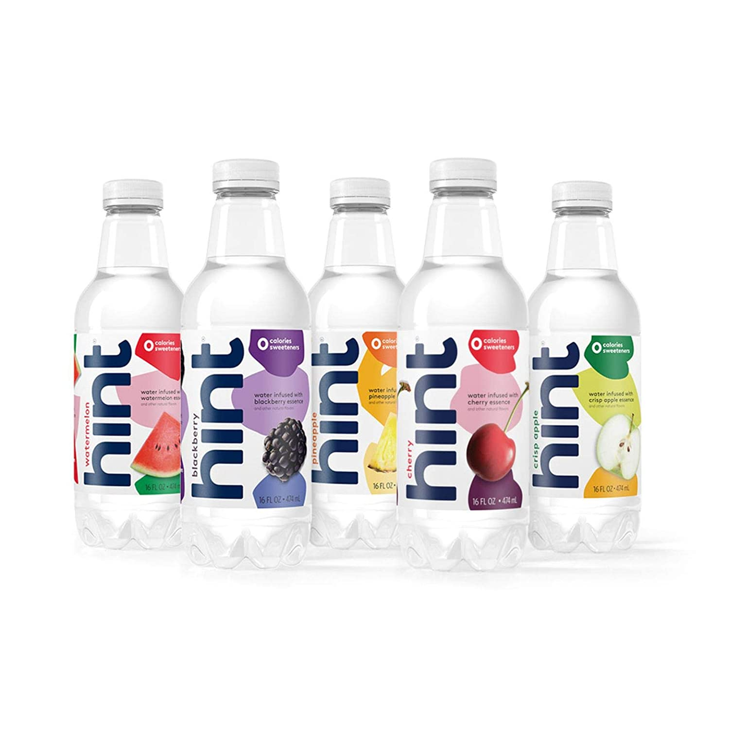 16oz Hint Water (Pack of 24) - 3 Bottles Each of: Blackberry, Cherry, Watermelon, and Pineapple & 12 Crisp Apple! Zero Calories, Zero Sugar and Zero Diet Sweetener