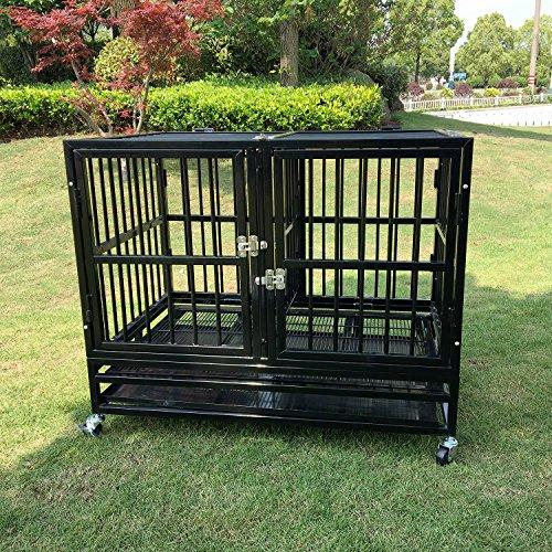 walcut-foldable-heavy-duty-37-inch-rolling-double-door-black-strong-metal-pet-dog-cage-crate-kannel-
