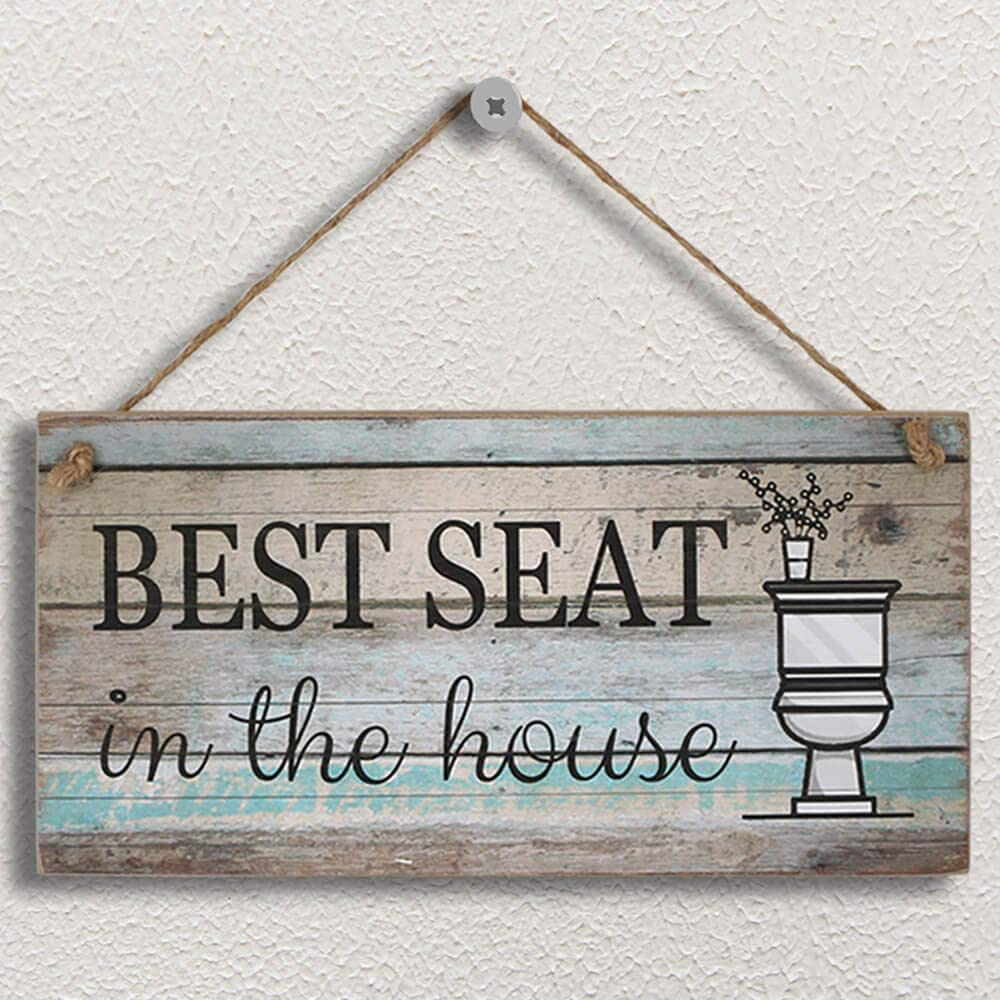 "Yankario Funny Bathroom Wall Decor Sign, Farmhouse Rustic Bathroom Decorations Wall Art , 12"" by 6"" Best Seat Wood Plaque"