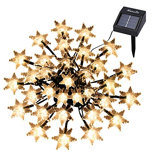 KEDSUM Outdoor Snowflake Solar Dangling Lights, 20ft 30 LED Waterproof Outdoor Decoration Lighting Fairy Lights for Christmas Trees, Garden, Patio, Wedding, Party and Leave of absence Festivals (Warm White)