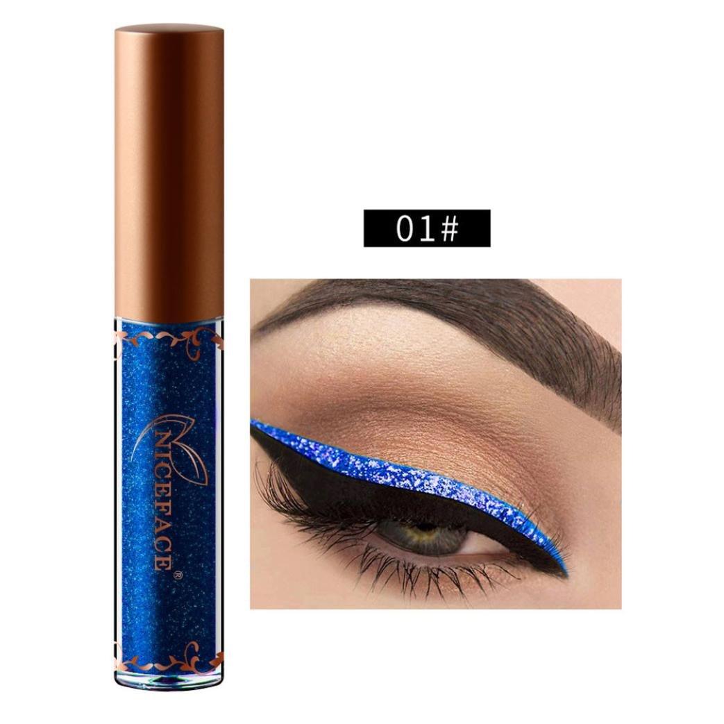 XEDUO Beauty Metallic Shiny Smoky Eyes Eyeshadow Waterproof Glitter Liquid Eyeliner (01#)