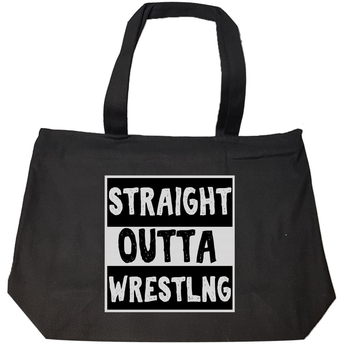 Straight Outta Wrestling Typography Black And White Funny - Tote Bag With Zip