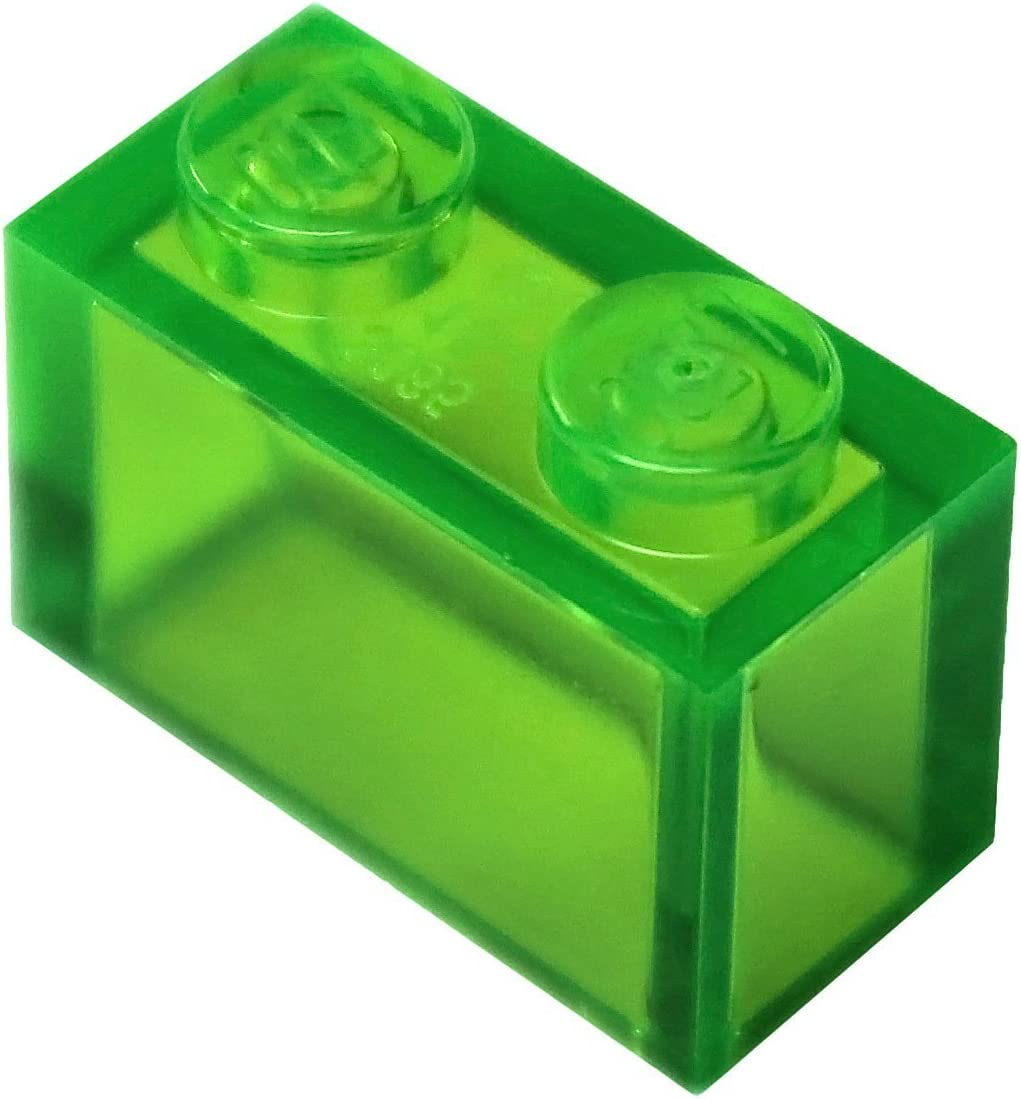 LEGO Parts and Pieces: Trans-Bright Green (Transparent Bright Green) 1x2 Brick x200