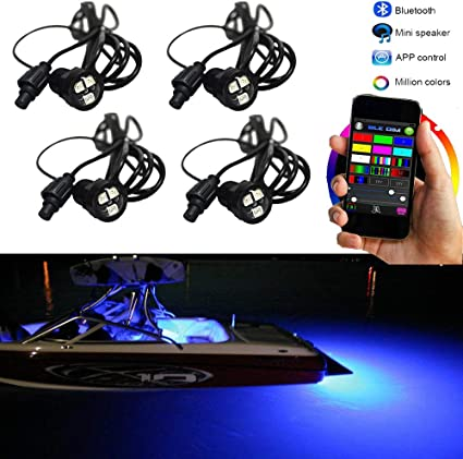 36W LED Boat Plug Light Drain Marine Underwater Changing RGB Phone App 4Pcs