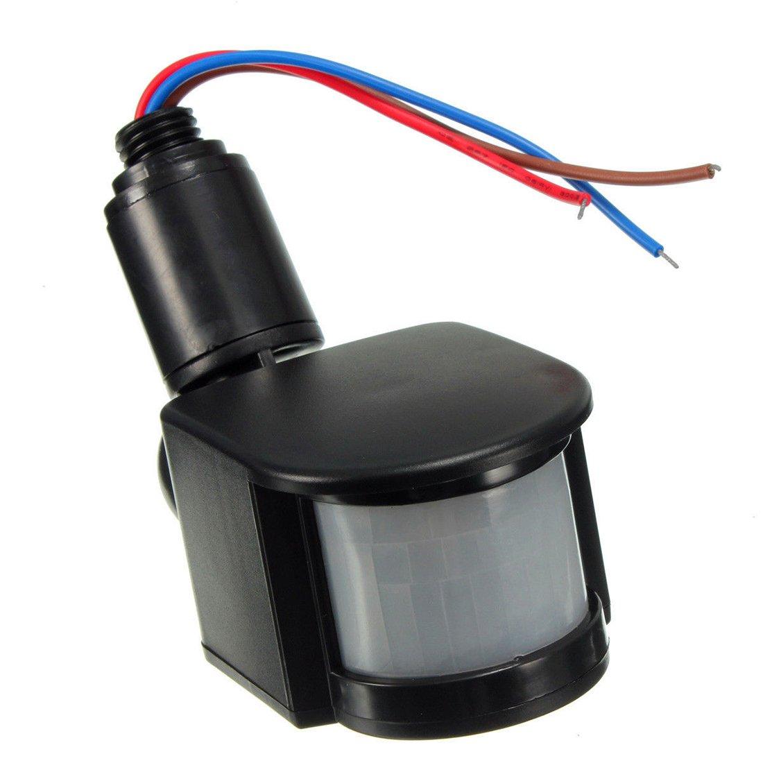 Outdoor 12V DC Automatic Infrared PIR Motion Sensor Switch for LED Light R Black SODIAL