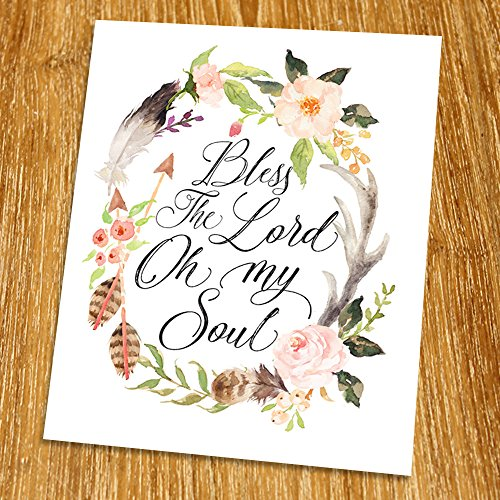 Psalm 103 Bless the Lord oh my soul Print (Unframed), Watercolor Flower, Scripture Print, Bible Verse Print, Christian Wall Art, Living Room Decor, 8x10