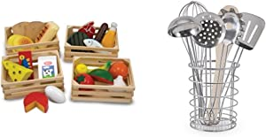 Melissa & Doug Food Groups - 21 Hand-Painted Wooden Pieces and 4 Crates with Melissa & Doug Stir and Serve Cooking Utensils (7 pcs) - Stainless Steel and Wood Bundle