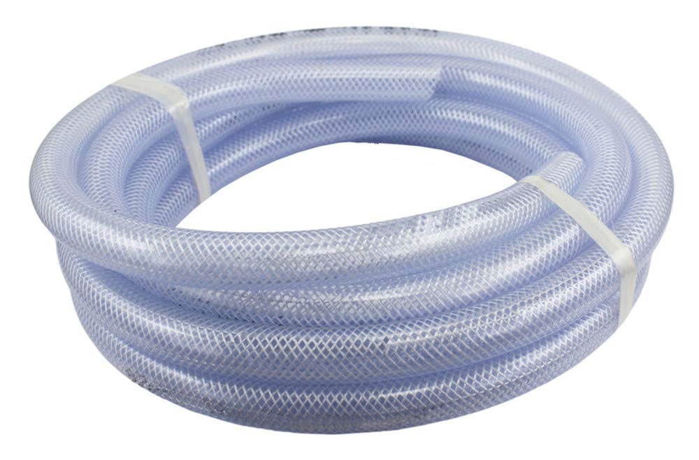 "Food Grade High Pressure Braided PVC Tubing, 100 Ft Roll 5/8"" ID x 7/8"" OD"