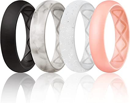 Womens Stackable Thin Rubber Ring Wedding Bands Egnaro Silicone Wedding Ring for Women