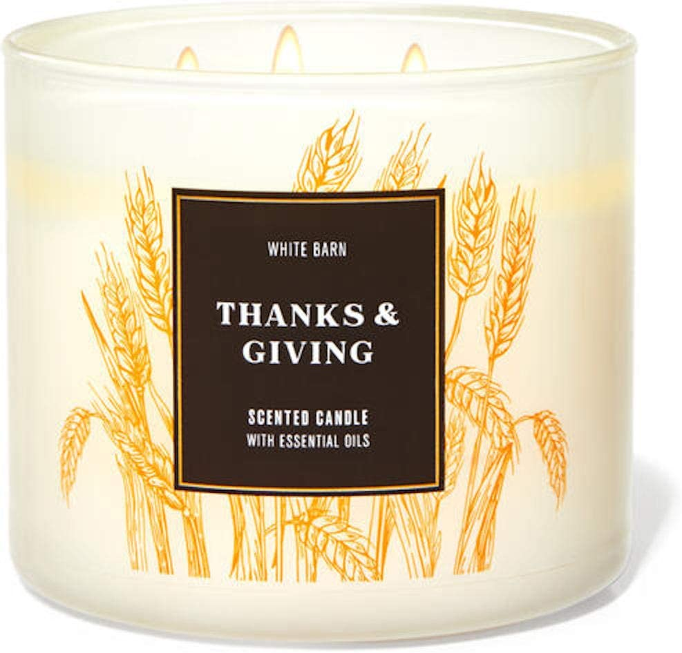 White Barn Candle Company Bath and Body Works 3-Wick Scented Candle w/Essential Oils - 14.5 oz - Thanks & Giving - Caramel Apple (Juicy Red Apple, Gooey Caramel, Praline Pieces)