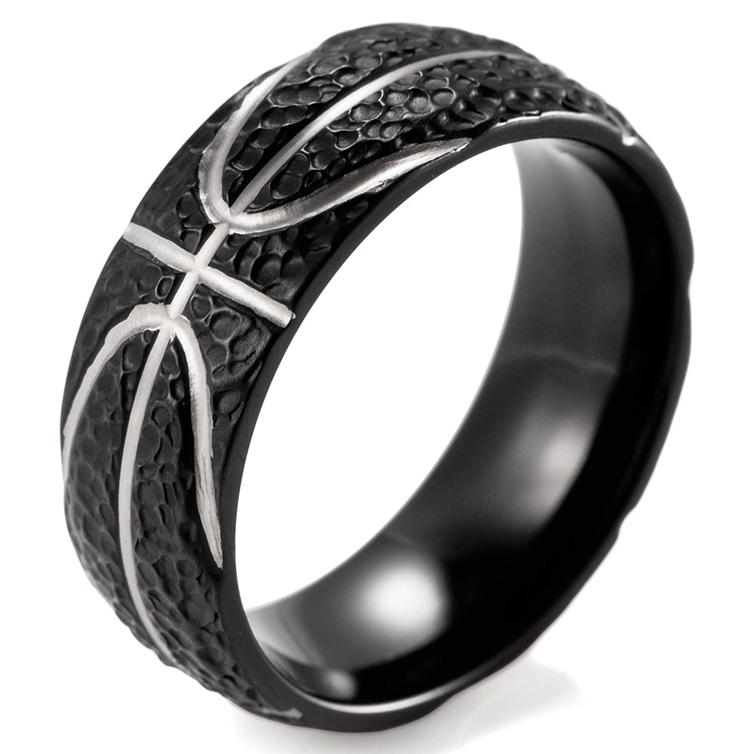 SHARDON Men's 8mm Black Domed Titanium Ring with Hammered Basketball Pattern