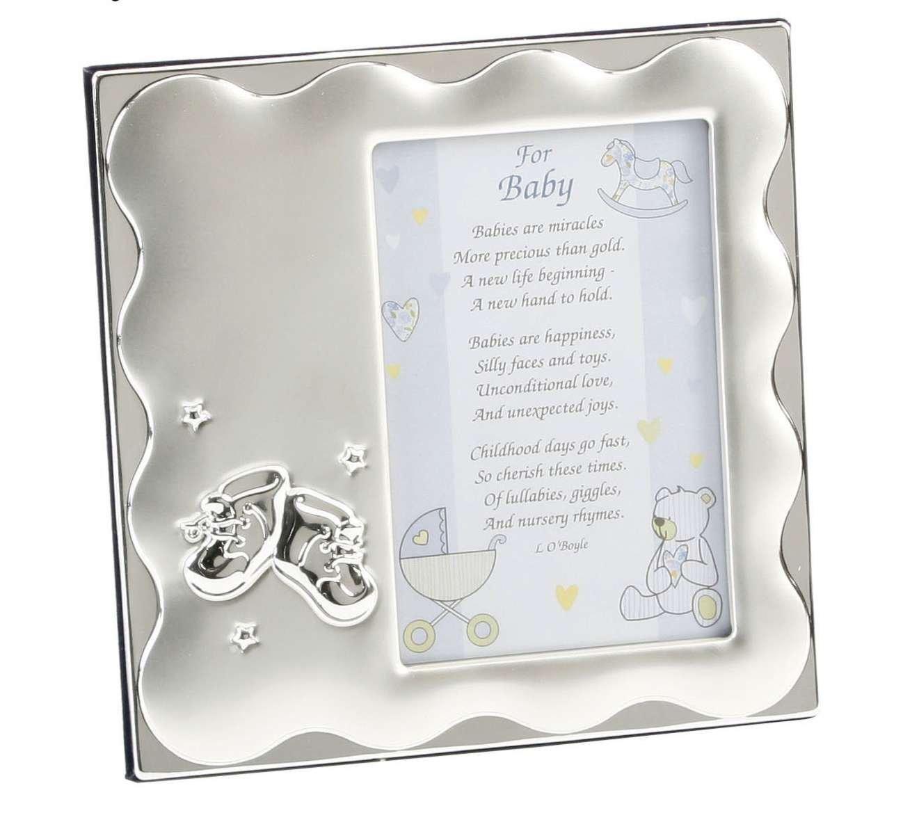 Der versilberte Baby Fotorahmen / Bilderrahmen in hellblau für ...