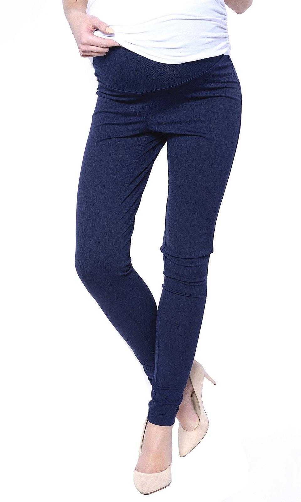 Mija - Elegant Women Maternity Slim Pants Trousers 1046 (US 8, Navy Blue)