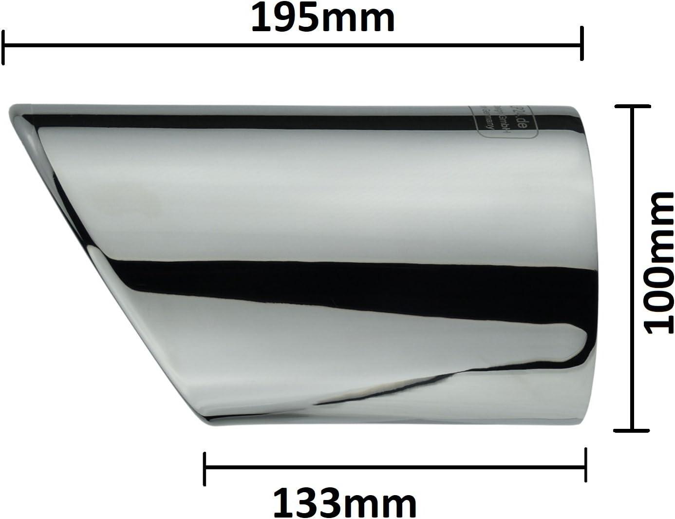 L /& P A298/2/scarico terminale di scarico in acciaio inox lucidato a specchio Plug /& Play cromato endrohr blenden endrohr apertura di scarico endrohre